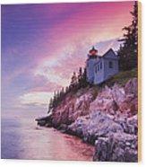 Acadia Sunset Wood Print