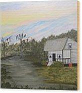 Acadian Home On The Bayou Wood Print
