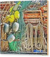 Accessories To Shrimp Catching Wood Print