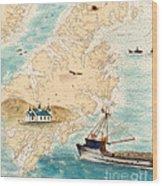 Accomplice Kodiak Crab Fishing Boat Cathy Peek Nautical Chart Map  Wood Print
