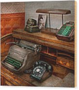 Accountant - Typewriter - The Accountants Office Wood Print
