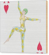 Ace Of Hearts Wood Print
