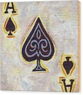 Ace Of Spades Wood Print