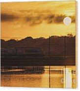 Acela Sunset Wood Print