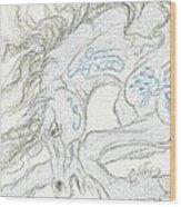 Aceo Blue Unicorn Wood Print