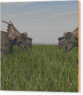 Achelousauruses Confrontation In Swamp Wood Print