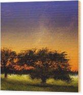 Acid Sunset Wood Print
