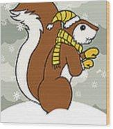 Acorn Winter Wood Print