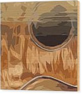 Acoustic Guitar Brown Background 2 Wood Print