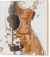 Acoustic Guitar Brown Background 4 Wood Print
