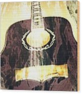 Acoustic Guitar - In The Studio Wood Print