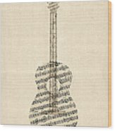 Acoustic Guitar Old Sheet Music Wood Print by Michael Tompsett