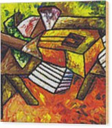 Acoustic Guitar On Artist's Table Wood Print