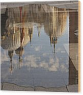 Acqua Alta Or High Water Reflects St Mark's Cathedral In Venice Wood Print