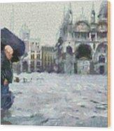 Acqua Alta Venice Wood Print