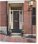 Acorn Street Door And Lamp Wood Print