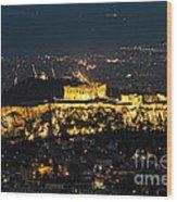 Acropolis At Night Wood Print