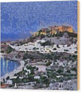Acropolis Village And Beach Of Lindos Wood Print
