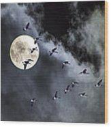 Across A Harvest Moon Wood Print