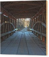 Across The Bridge And Through The Woods Wood Print