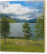 Across The Lake Wood Print