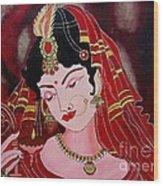 Acrylic Painting-lady With Diya Wood Print
