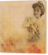 Actress In The Pink Vintage Collage Wood Print