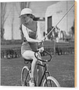 Actress Plays Bike Polo Wood Print