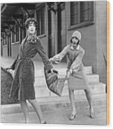 Actresses On Roller Skates Wood Print