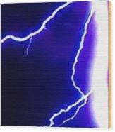 Actual Lightning In Zoom Image Wood Print