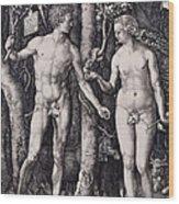 Adam And Eve Engraving Wood Print