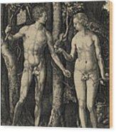 Adam And Eve In The Garden Of Eden - Albrecht Durer 1504 Wood Print
