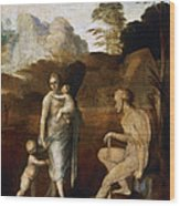 Adam And Eve With Cain And Abel Wood Print