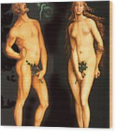Adam Eve And The Serpent Wood Print