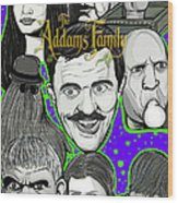 Addams Family Portrait Wood Print by Gary Niles