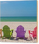 Adirondack Beach Chairs For A Summer Vacation In The Shell Sand  Wood Print by ELITE IMAGE photography By Chad McDermott