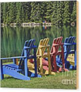 Adirondacks At Jasper Lodge Wood Print