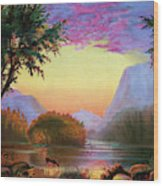 Adirondacks Sunset Wood Print