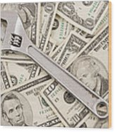 Adjustable Wrench On Pile Of Money Wood Print