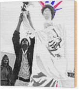 Adjusting  Torch Statue Of Liberty Statue July 4th Parade Tucson Arizona  Wood Print