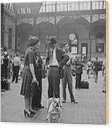 Admiring The Dog At Penn Station 1942 Wood Print