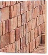 Adobe Bricks Drying In The Sun Wood Print