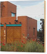 Adobe House And Poppies Wood Print