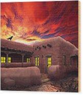 Adobe Sunset Wood Print by Ric Soulen