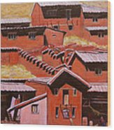 Adobe Village - Peru Impression II Wood Print
