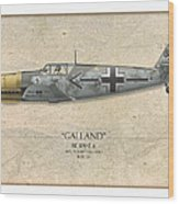 Adolf Galland Messerschmitt Bf-109 - Map Background Wood Print
