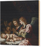 Adoration Of The Angels Wood Print