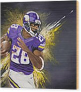 Adrian Peterson Wood Print by Don Medina