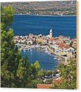 Adriatic Town Of Vinjerac Aerial View Wood Print