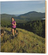 Adult Woman Trail Running Wood Print